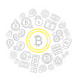 set of bitcoin line icons set in shape of vector image vector image