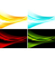 set of bright abstract waves backgrounds vector image vector image