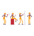 set of female worker in yellow overall with tools vector image vector image