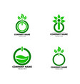 set power button and leaves logo template vector image vector image