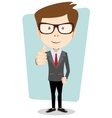 Smiling and winking cartoon business man giving vector image vector image