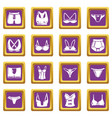 underwear types icons set purple square vector image vector image