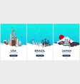 usa brazil japan time to travel set of travel vector image