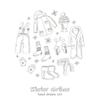 Winter clothes set Vintage for vector image vector image
