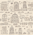 doodle set of houses with trees vector image