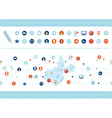 Seamless pattern and Set of flat design icons for vector image