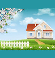house on a hill and a blossoming tree vector image