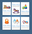 set of baby shower invitation cards vector image