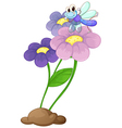 A flowering plant with a dragonfly vector image vector image