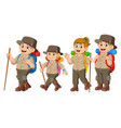 adventurer are doing journey together vector image vector image
