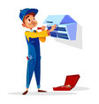 air conditioner repair man cartoon vector image