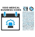 Alert Calendar Day Icon With 1000 Medical Business vector image vector image