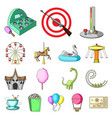 amusement park cartoon icons in set collection for vector image vector image