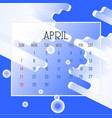 april 2019 calendar leaf vector image vector image
