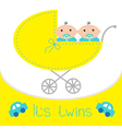 Baby carriage Its twins boys Shower card Flat vector image vector image