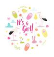 bashower announcement card its a girl vector image vector image