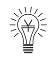 black outline lightbulb with yen vector image vector image