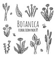 botanica floral - stylized monochrome icons vector image
