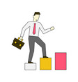 businessman going up stairs linear vector image