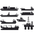 cargo Vessels tugboat and oil platform vector image vector image