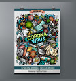 cartoon colorful hand drawn doodles coronavirus vector image vector image