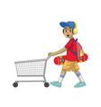 cartoon skater boy pushing shopping cart vector image