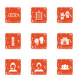 character money icons set grunge style vector image