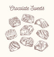 collection sketch chocolate sweets vector image vector image