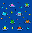 colorful ufo aliens cartoon pattern vector image vector image