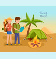 couple travels exploring terrain setting tent vector image