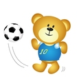 Cute cartoon boy bear playing soccer vector image vector image