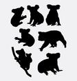 Cute koala animal silhouettes vector image vector image