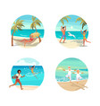 dream scene with beautiful beach in round design vector image