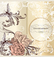fashion invitation card with roses vector image vector image