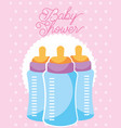 feeding bottles baby shower card vector image vector image