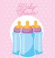 feeding bottles baby shower card vector image