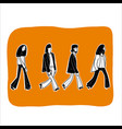 four men walking in line vector image