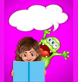 girl and monster reading book vector image vector image