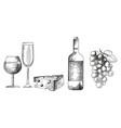 hand drawn monochrome wine set on white background vector image