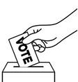 hand placing vote ballot in ballot box vector image