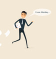 happy businessman and reports in a his hand vector image vector image