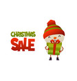 happy cute cartoon snowman with gift present and vector image vector image