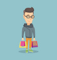 happy man with shopping bags vector image vector image