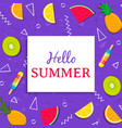 hello summer card with tropical fruit ice cream vector image vector image