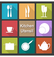Icons set of kitchen utensil in flat design style vector image