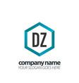 initial letter dz hexagon box creative logo black vector image vector image