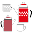 iron red kettle and cup for coffee vector image vector image