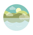 landscape nature lake sun and mountains flat style vector image vector image