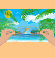 landscape of beach hand with sunglasses vector image vector image