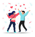 man and woman in love with heart shapes vector image